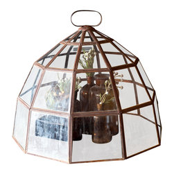 BoBo's Intriguing Objects - Glass Dome Cloche - Here's a piece that's sure to ring your bell. Cloches became popular in the late 1800s to protect tender plants from temperature extremes. This one features a multifaceted metal and glass dome in a rusted finish. Cover your African violets, or just draw attention to another keepsake underneath.
