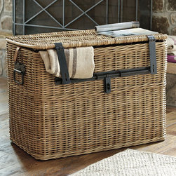 Ballard Designs - Travelers Wicker Chest - Large - I collect antique wicker baskets because they add a certain elegance and faded charm to a room. Plus, they just are great for storing things. These baskets, although new, have gorgeous iron detailing that gives them an old appearance. They could be used at the foot of the bed or as side tables between chairs.