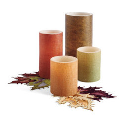 Grandin Road - Burlap Battery Operated Candles - A single, optional remote will control an entire room full of candles (sold separately). Crafted from real white wax, wrapped in burlap, our candles provide all the atmosphere you would expect, without the worry of an open flame. LED turns on and off, manually, or use the automatic 4-, 6-, or 8-hour timer function. Up to a 500-hour battery life. Candles require four AA batteries each (not included). Give your autumn decor natural ambience with our Battery-operated Burlap Candles, plus the added convenience of an optional remote control.  .  .  .  .  . A Grandin Road exclusive.
