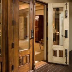 Canyon Road Remodel - The Doors (and a Gate) - Custom doors incorporating antique carved panels and fragments.  Photo: Eric Swanson