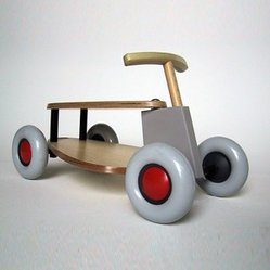Sirch Toys - Sirch Toys | Flix Push Car - Low and sturdy like a little racer should be! The Flix Push Car features ash wood construction with oversized rubber wheels and flexing handle atop the front wheels.