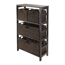 Winsome Trading, INC. - Winsome Granville 5-Piece Storage Shelf with 2 Large and 2 Small Foldable Basket - Granville Storage Shelf with Foldable Baskets is perfect to storage and organized your goodies. This set comes with open shelf and four foldable baskets in chocolate color made from corn husk. Shelf assembled size is 25.20W x 11.22D x 42H. Shelf is made from combination of solid and composite wood. Two small foldable corn husk basket is 11.02W x 10.24D x 9.06H when open and folded is at 19.88W x 9.45D x 2.36H. Two large baskets size is 22.83W x 10.24D x 9.06H and folded at 31.69 x 9.45 x 2.36.