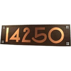 Traditional House Numbers Craftsman Copper Address Plaque with House Numbers