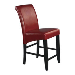 """Office Star - Office Star Metro 24"""" Parsons Barstool in Crimson Red Bonded Leather - Office Star - Bar Stools - MET8624RD"""