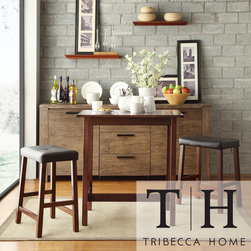 Tribecca Home - TRIBECCA HOME Nova Cherry 3-piece Kitchen Counter Height Dining Set - This classy pub-style dining set is the ideal dining solution for up to two people. This set is perfect for singles or couples who do not need a full dining set. It can also be used for additional dining space during gatherings and celebrations.