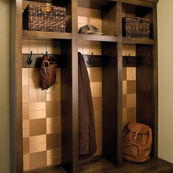 Alternative uses for backsplash products - Aspect metal tiles as an accent to mudroom cubbies.