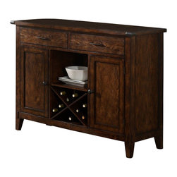 Liberty Furniture - Liberty Furniture Cabin Fever Server in Brown, Dark Wood - This server adds a fantastic storage, display, and serving piece for your dining room or kitchen. Use the spacious top for decorative accents or setting out prepared dishes of food for family and friends. Other storage and display includes the open shelf, wine bottle storage, and interior storage space within the two doors. Tapered feet, exposed wood mortise and tenon joints, and pewter corner endcaps complete the server's look. What's included: Server (1).