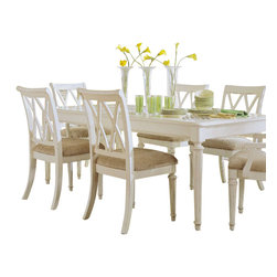American Drew - American Drew Camden-Light 8 Piece Leg Dining Room Set in White Painted - The Camden-Light Collection melds simple forms with quiet traditional references, gentle curves and a beautiful time worn ivory finish that lets the character of the wood show through. The brushed nickel finish hardware adds even more character to the Camden collection. This line will work great in your renovated farm house or a smaller beach cottage get-away.