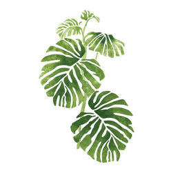 """Stencil Ease - Rainforest Philodendron 1 Stencil - Rainforest Philodendron 1 Home Decor Stencil Contains: 4 - 9"""" x 18"""" stencil sheetsActual size: 20"""" wide x 30.75"""" high (50.8 cm x 78.11 cm)  This design was painted using the following Americana Acrylic stencil paint colors: MDA02051 Leaf Green MDA02208 Celery Green MDA02133 Hauser Dark Green Complete kit comes with stencils paints and 1 TT10068 double-ended stencil brush."""