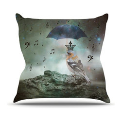 """Kess InHouse - Suzanne Carter """"Umbrella Bird"""" Throw Pillow (Outdoor, 20"""" x 20"""") - Decorate your backyard, patio or even take it on a picnic with the Kess Inhouse outdoor throw pillow! Complete your backyard by adding unique artwork, patterns, illustrations and colors! Be the envy of your neighbors and friends with this long lasting outdoor artistic and innovative pillow. These pillows are printed on both sides for added pizzazz!"""