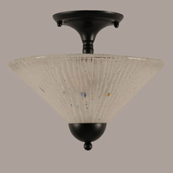 Toltec Lighting - Matte Black 12-Inch Two Light Semi-Flush with Frosted Crystal Glass - - Rated: Interior  - Is This A Chain Hung Fixture? : NO  - Bulb Included: No  - UL Application: Ceiling  - Assembly Required: Yes Toltec Lighting - 120-MB-701
