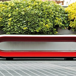 Loop Outdoor Bench by Serralunga - Loop Outdoor Bench by Serralunga. Deal chair to give a fashionable touch to both indoor and outdoor environments. A special feature is the opening on the inner part of the bench that lightens its structure and visual impact, whilst creating greater resistance. Loop Outdoor Bench by Serralunga are designed by Christophe Pillet.