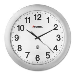 Lorell - Lorell Radio Controlled Wall Clock - Digital - Quartz - Atomic - Round wall clock is radio-controlled so the setting is modified each day to that of the atomic clock, accurate to one second per million years. The clock automatically adjusts to Daylight Saving Time and designed to work in the continental United States. Design also features an easy-to-read white dial, black Arabic numerals, red second hand sweep and ABS plastic cover. Clock runs on one AA battery (sold separately).