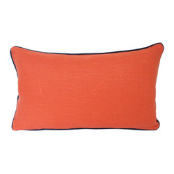 The Pillow Studio - Orange Linen Lumbar Pillow with Navy Blue Piping - This lumbar pillow is perfectly balanced -- the orange linen offers a great punch of color while the navy piping grounds it. It is a great example of how a little can go a long way.