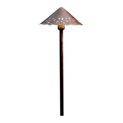 """Kichler 3-Light Landscape Fixture - Textured Tannery Bronze - Three Light Landscape Fixture. A textured tannery bronze finish accentuates the soft details and the contemporary lines of this lighting outdoor path light. Scalloped edges and hammered accents give it a unique look. Comes with 8"""" in-ground stake mounting accessory. Wiring is 53"""" of usable #18-2, spt-1-w leads. Cable connector supplied with fixture. Separate driver is not required with this series. Not intended for use with electronic transformers."""