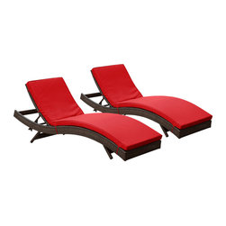Modway - Modway EEI-1172 Peer Chaise Set of 2 in Brown Red - Don't let moments of relaxation elude you. Peer is a serenely pleasant piece comprised of all-weather cushions and a rattan base. Perfect for use by pools and patio areas, chart the waters of your imagination as you recline either for a nap, good read, or simple breaths of fresh air. Moments of personal discovery await with this chaise lounge that has fold away legs for easy storage or stackability with other Peer lounges.