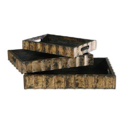 Old World Distressed Gold Leaf Trays - *THIS SET OF THREE TRAYS ARE FINISHED IN A DISTRESSED MAHOGANY WOOD TONE WITH BLACK UNDERTONES AND GOLD LEAF DETAILS.
