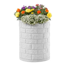 DMC - Self-Watering 7 Gallon Round Earth Planter - Small Brick - 95111 - Shop for Planters and Pottery from Hayneedle.com! About EarthPlanterOptimizing the balance between technology size design and functionality EarthPlanters are the result of ten years of research. These planter are successful because of a patent pending RapidWick watering system that delivers the nutrients your plants need automatically. RapidWick goes to work immediately and adjusts the water flow rate automatically as moisture demands change due to weather conditions. Each planter has a planting tray for soil-less mixture and this design promotes a deep even distribution of water to achieve great results. A large water reservoir lets you go anywhere between one week to two months between watering. Refill periods depend on size of planter (smaller need more frequent refills) and environmental conditions. An overflow assembly means your planter can never be overfilled. All the guesswork is taken out so there's no risk of under-or over-watering your plants and the proper amount of water air and nutrients are delivered to the root system at all times. Plants will thrive and daily maintenance is eliminated.