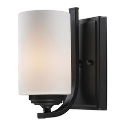One Light Oil Rubbed Bronze Matte Opal Glass Bathroom Sconce - This wall sconce is finished in beautiful oil rubbed bronze and the soft matte opal shade gives any room a warm, modern glow.