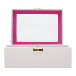 Wolf Designs - Brighton Jewelry Box, Medium - Add a pop of color with the Brighton collection. Each case features a rich, saffiano leather exterior in orange, cream, or black and a contrasting plush interior.  The medium jewelry box contains a vanity mirror behind the lid and two pull out trays with open compartments and a ring roll.