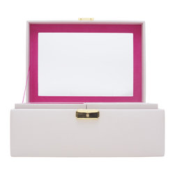 WOLF - Brighton Jewelry Box Medium, Cream - Add a pop of color with the Brighton collection. Each case features a rich, saffiano leather exterior in orange, cream, or black and a contrasting plush interior.  The medium jewelry box contains a vanity mirror behind the lid and two pull out trays with open compartments and a ring roll.