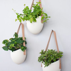 Porcelain and Leather Hanging Planters by Light + Ladder, Set of 3 - Hanging planters are a visual feast for the green-loving dweller. These are particularly beautiful with their simple white ceramics and natural tan leather straps. They're ideal for hanging plants and air plants, or even for keeping fresh herbs on a kitchen wall.