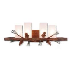 Avalanche-Ranch - Pine Cone Art: Wisley Bath Vanity Light - Bath Vanity Lights - Triple with Pine Cone artwork - Takes (4) 60W C-Type bulb(s)