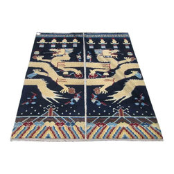 Golden Lotus - Pair Tibetan Handmade Yellow Dragon Graphic Wool Rug Carpet - You are looking at a pair of wool rugs which are handmade by Tibetan and has yellow dragon graphic and blue background. It is a unique piece to put in your living room, hallway or even on the pole or wall.