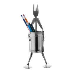 Forked Up Art - Pencil Dredge Stand - Fork - Great for the desk or counter top! Can be used to store powdered sugar, cinnamon, or cocoa! Includes one(1) dredge with lid.