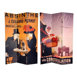 Oriental Furniture - 6 ft. Tall Double Sided Absinthe Canvas Room Divider - Express your love for European flair with these two magnificent, early 20th century graphic art reproductions. On the front is a poster for  J. Edouard Pernot Absinthe  created by turn of the century graphic design luminary Leonetto Cappiello, hailed by many as 'The Father of Modern Advertising'. The back is an attractive 50's French travel poster, enticing the viewer with the profile of a Parisian flower seller in front of   Arc de Triomphe . These unique works of vintage graphic art will bring that certain  je ne sais quoi  into your living room, bedroom, dining room, or kitchen. This three panel screen has different images on each side, as shown.
