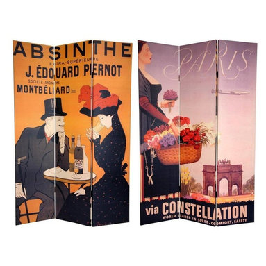 Oriental Furniture - 6 ft. Tall Double Sided Absinthe Canvas Room Divider - Express your love for European flair with these two magnificent, early 20th century graphic art reproductions. On the front is a poster for J. Edouard Pernot Absinthe created by turn of the century graphic design luminary Leonetto Cappiello, hailed by many as 'The Father of Modern Advertising'. The back is an attractive 50's French travel poster, enticing the viewer with the profile of a Parisian flower seller in front of Arc de Triomphe. These unique works of vintage graphic art will bring that certain je ne sais quoi into your living room, bedroom, dining room, or kitchen. This three panel screen has different images on each side, as shown.