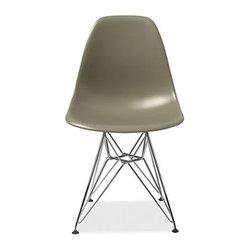 """Eames Molded Plastic Chair With Wire Base, Sparrow - In my casual breakfast room, I'd pair a nice drum shade with Eames Eiffel chairs, but pick an offbeat hue like this intriguingly named """"sparrow"""" color."""