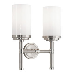 Robert Abbey - Halo Wall Sconce, Brushed Nickel - Why settle for one light when you can have two? Double your pleasure with this set of handsome wall sconces. The white glass shades topping these stately sconces have the look and feel of cozy, lit pillar candles.