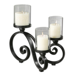 Uttermost - Arla Black Crackle Candleholder - This holder really does burn the candle at both ends, with a crackled metal stand that holds three clear glass candleholders aloft. Show off its unique shape atop your dining table, sideboard, coffee table or wherever else you want to add a little mood lighting.