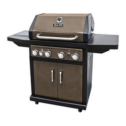 Fall 2012 - This burnished bronze 60,000 total btu propane (LP) barbeque gas grill has 666 square-Inch of total cooking space. The grill offers 4 stainless steel straight burner tubes, a stainless steel side burner; cast iron enameled cooking grates which are protected by 4 steel enameled heat tents that adds flavor to the whole barbeque grilling experience. The lid offers a double-wall liner to retain heat and cast aluminum end caps for stability, an easy lift handle, and a temperature gauge with décor ring for reading heat settings. The control panel offer's an electronic easy push button start ignition, a large series of dials for each burner. The side shelves offer an open space for food preparations. The cabinet style offers an easy open two door, while inside it offers an open slot for the propane (LP) tank to sit easily into place. In addition, there are 2 locking and 2 non-locking heavy duty wheel casters. In addition, as an added grilling experience, a 'universal type' 35-inch rotisserie kit will work with this grill (not included).