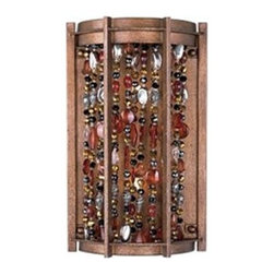 Maxim Lighting - Maxim Lighting 21579CT Trinket Wall Sconce - Jewelry for the home: strands of necklace beads suspend within hexagon, metal frames painted in our new Chestnut finish. The true beauty of these fixtures comes to life when illuminated by the powerful Xenon lamps (included).