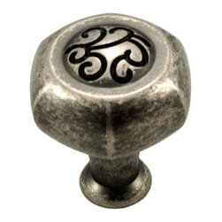 RK International CK 115-WN Cabinet Knob - Palermo Series - Hexagon - Weathered N - This weathered nickel finish cabinet knob with hexagon design is part of the Palermo Series Cabinet Hardware Collection from RK International and features a perfect blend of craftmanship in traditional and contemporary design to complement any decor.