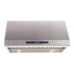 """Cavaliere - Cavaliere-Euro AP238-PS83-42 42; Under Cabinet Range Hood - Mount Type: Under Cabinet / WallMounted. Venting: 8"""""""" round duct vent exhaust. Airflow at Max: 1000 CFM. Lighting: 2 x 20w Halogen Lights, 2 Heating Lamps (light bulbs not included). Noise Level: 1.4Sone(45dB) / 3.5Sone(58dB) / 7.0Sone(68dB) / 8.0Sone(70dB). Voltage: 120v @ 60 Hz standard USA & Canada. Motor: 360 W Dual Chamber Ultra Quiet. Speeds: 4 Speeds with TIMER function. Keypad Type: Touch Sensitive with Blue LED lighting. Filters: Dishwasher safe Stainless steel baffle filters. Material: Heavy duty 19 gauge brushed finish stainless steel. Features: Credit Card Sized Remote Control, Unique Heat Sensitive Auto Speed function. Warranty: 1 year parts from the Manufacturer"""