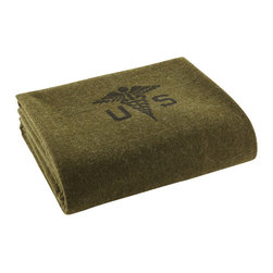"""Faribault Mill - Foot Soldier Military Wool Blanket - Army Medic Green - We believe The Faribault Mill began making blankets for the military as early as 1897. The Foot Soldier is made to the same military specification we've been using since at least 1917. Originally designed to accommodate the widely varying temperatures of Cadet sleeping quarters, the """"double cloth"""" construction of this blanket results in a warm, heavy, yet breathable product. Available in four military spec colors and finishes: Cadet gray with gold and black stripe, Cadet maroon with gold stripes, U.S. Navy solid gray and U.S. Army solid green. Permanently moth-proofed."""