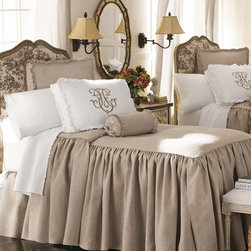 Legacy Home 'Essex' Bed Linens - This bedding echoes the set I made for my own bed using Italian linen in an oatmeal color. The gathered sides add a soft and airy feel to the room. This is definitely a splurge item, but it's so beautiful and elegant.