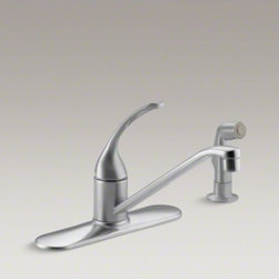 "KOHLER - KOHLER Coralais(R) three-hole kitchen sink faucet with 10"" spout, matching finis - Add style and functionality to everyday tasks with this durable Coralais kitchen sink faucet. A color-matched sidespray and swing spout make it easy to wash pots and pans, while an elegant loop handle and high-quality ceramic valve offer precise water con"