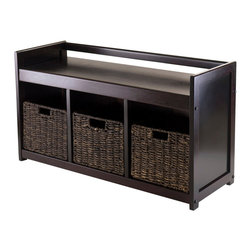 """Winsome Wood - Winsome Wood Addison 4 Piece Storage Bench w/ 3 Foldable Corn Husk Baskets - 4 Piece Storage Bench w/ 3 Foldable Corn Husk Baskets belongs to Addison Collection by Winsome Wood Addison Bench looks great in any room with rich dark espresso finish. Bench comes with 3-section with 3 foldable baskets for storage. Bench overall sizes is 37.40""""W x 13.39""""D x 20.87""""H. Baskets are foldable and made from corn husk in chocolate finish. Opens to 11.02""""W x 10.24""""D x 9.06'H. Bench is made with combination of solid and composite wood. Assembly Required Bench (1), Basket (3)"""