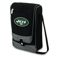 """Picnic Time - New York Jets Barossa Wine Tote in Black - The Barossa is so sleek and sophisticated, you'll want to take it with you every chance you get. It's made of 600D polyester and features an adjustable shoulder strap that makes it easy to carry and a flat zippered pocket on the exterior flap. The Barossa is fully insulated to keep your wine the perfect temperature and has a divided interior compartment to separate your bottle of wine from the 2 (8 oz.) acrylic wine glasses included. Also included are: 1 stainless steel waiter style corkscrew, 1 bottle stopper (nickel-plated), and 2 napkins (100% cotton, 14 x 14"""", Black with silver pinstripe). The Barossa wine tote is perfect for picnics, concerts, or travel and makes a wonderful gift for those who enjoy wine.; Decoration: Digital Print; Includes: 16 stainless steel waiter style corkscrew, 1 bottle stopper (nickel-plated), and 2 napkins (100% cotton, 14 x 14"""", Black with silver pinstripe)"""