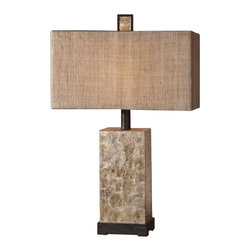 Uttermost Rustic Mother Of Pearl Table Lamp - Antiqued mother of pearl shell with rustic dark bronze details. Antiqued mother of pearl shell with rustic dark bronze details and matching finial. The rectangle box shade is burlap textile with natural slubbing.