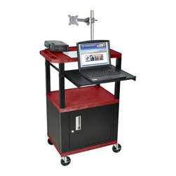 H. Wilson - Tuffy Presentations Cart w Black Legs in Burgandy - Includes lock with a set of two keys, front pullout laptop shelf and three outlet 15 ft. cord. Monitor mount features 270 degree swivel, 180 degree tilt and adjustable height. Recessed chrome handle. 20 gauge steel cabinet. Recessed chrome handle. Locking steel cabinet panels fit firmly into the specially molded leg slots. Cable management access in back cabinet panel. Three shelves. 0.25 in. safety retaining lip and a raised texture surface to enhance product placement and ensure minimal sliding. 4 in. silent roll. Full swivel ball. 1.5 in. square black colored legs that will not chip, warp, crack, rust or peel. 4 in. heavy duty casters, two with locking brakes. High density polyethylene structural foam injection molded plastic shelves. Cord with cord management wrap and three cable management clips. Electrical attachment recessed to insure easy passage through doorways. Shelves and legs are made from recycled material. UL listed electrical assembly. Made from polyethylene and plastic. Made in USA. Minimal assembly required. Pullout shelf: 19.63 in. L x 15.63 in. W. Shelves: 24 in. L x 18 in. W x 1.5 in. H. Overall: 24 in. L x 18 in. W x 42.5 in. H. Warranty