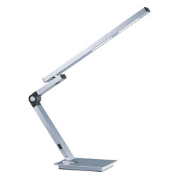 """ET2 Lighting - ET2 Lighting E41030-SA Satin Aluminum Eco-Task 1 Light 23 Inch LED Swing Arm Tab - Flexible and bendable, the Eco-Task is a state of the art LED table lamp with a 23"""" reach that will provide ample task oriented 9 watt eco friendly light anywhere it is needed."""