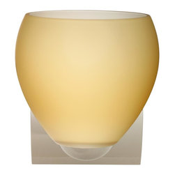 Besa Lighting - Besa Lighting 1WZ-4122VM-CR Bolla Vanilla Matte Chrome One Light Wall Sconce - The Bolla is a compact handcrafted glass, softly radiused to fit gracefully into contemporary spaces. Our Vanilla Matte glass is a light golden cased glass and opal inner layer. The orange glow has a low key harmonious display that exudes a warm mood. When lit the glass is vitalizing as well as stylish. The smooth satin finish on the outer layer is a result of an extensive etching process. This blown glass is handcrafted by a skilled artisan, utilizing century-old techniques passed down from generation to generation. The minisconce fixture is equipped with a sleek arcing diecast lampholder and matching radiused rectangular canopy. These stylish and functional luminaries are offered in a beautiful Chrome finish.