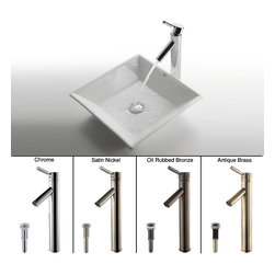Kraus - Kraus White Square Ceramic Sink and Sheven Faucet - Transform your bathroom into an elegant room with this Kraus ceramic square bathroom sink. This includes your choice of four different colored faucets, so you can easily match your current decor, and the white design provides a sleek and clean look.