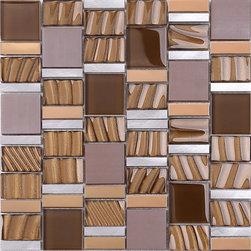 "Mosaic Decor - Brown Gold Metal Glass Kitchen Backsplash Tile, 12"" X 12"" Sheet - Brown gold and gray metal color mixed. Glass and metal kitchen backsplash tile."