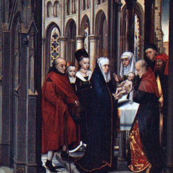 """Hans Memling The Presentation in the Temple - 16"""" x 20"""" Premium Archival Print - 16"""" x 20"""" Hans Memling The Presentation in the Temple premium archival print reproduced to meet museum quality standards. Our museum quality archival prints are produced using high-precision print technology for a more accurate reproduction printed on high quality, heavyweight matte presentation paper with fade-resistant, archival inks. Our progressive business model allows us to offer works of art to you at the best wholesale pricing, significantly less than art gallery prices, affordable to all. This line of artwork is produced with extra white border space (if you choose to have it framed, for your framer to work with to frame properly or utilize a larger mat and/or frame).  We present a comprehensive collection of exceptional art reproductions byHans Memling."""